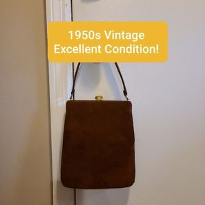 Vintage 1950s Suede Bag. Exquisite!